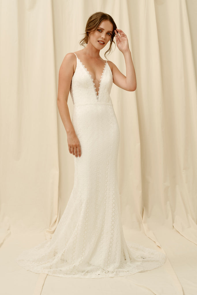 Plunging neckline lace wedding dress