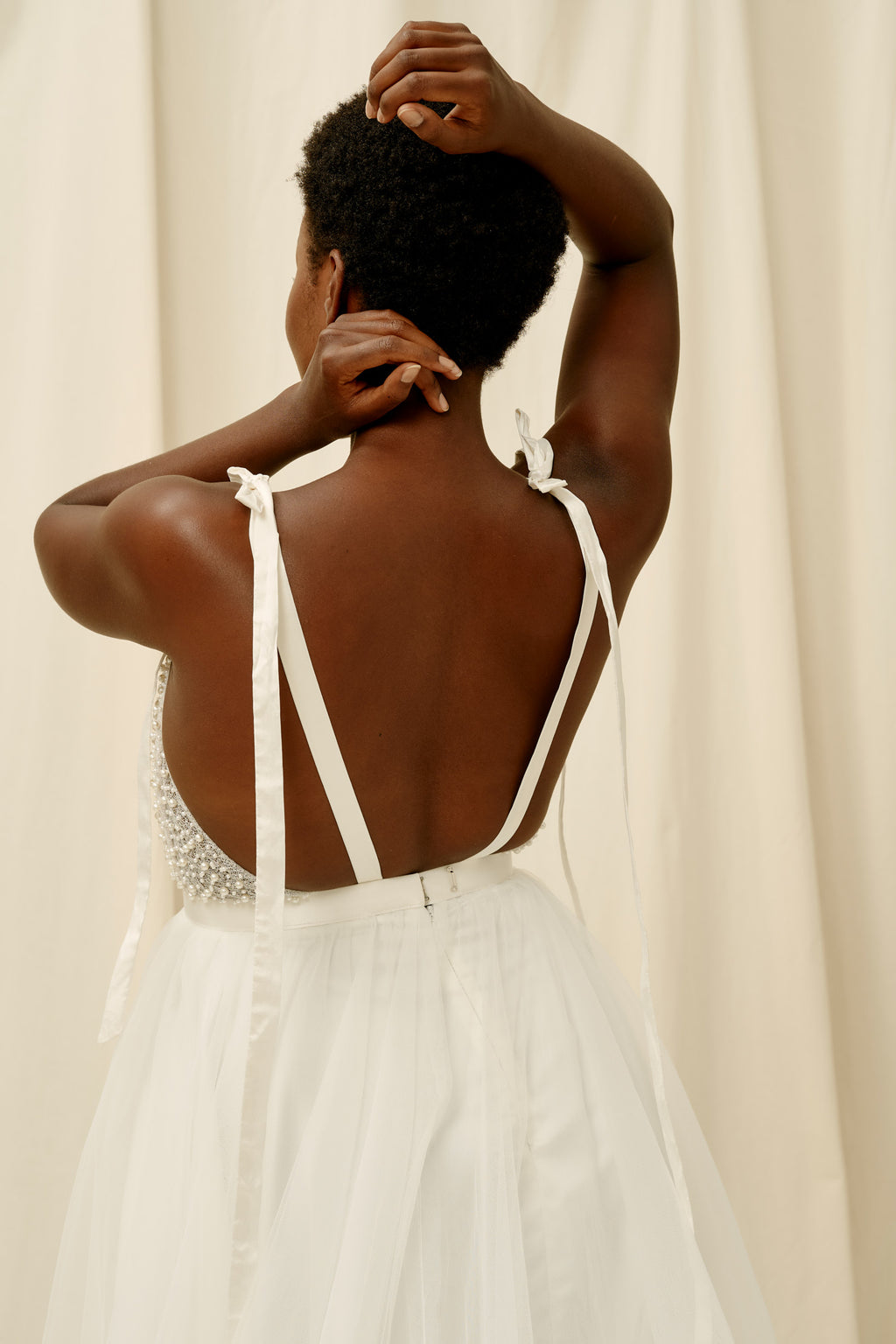 Shoulder tie wedding dress with pearls