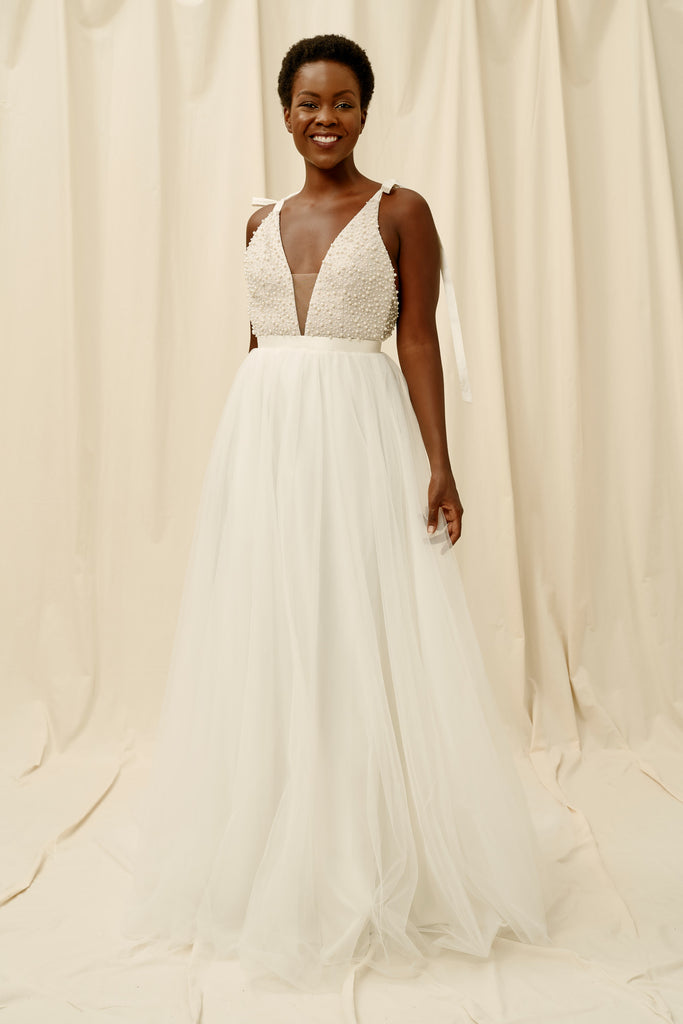 Pearl wedding dress with silk shoulder ties