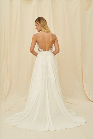 Backless lace wedding dress with modern lace