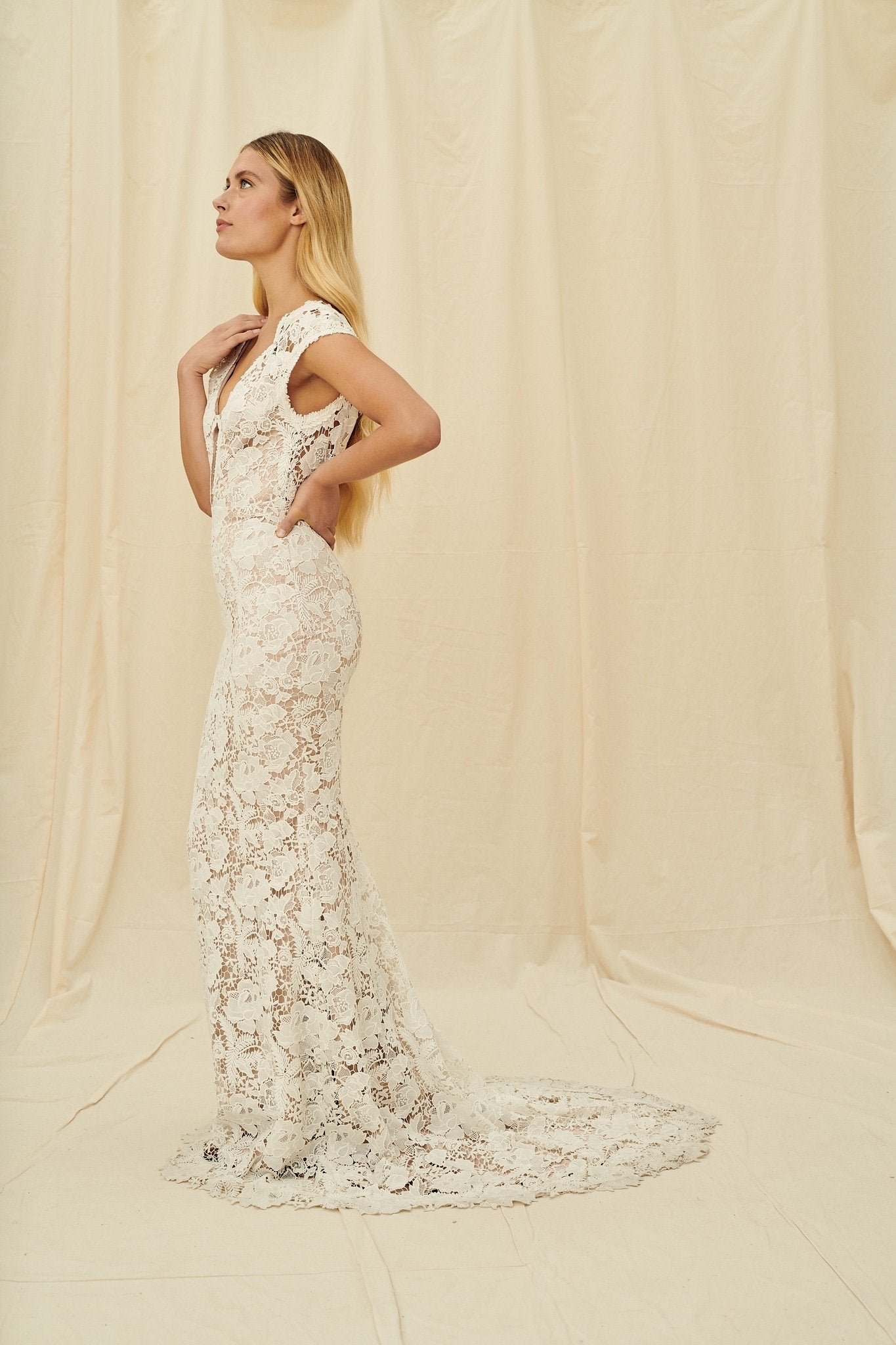 A full-lace gown with mocha-coloured lining, cap sleeves, and a wide open back