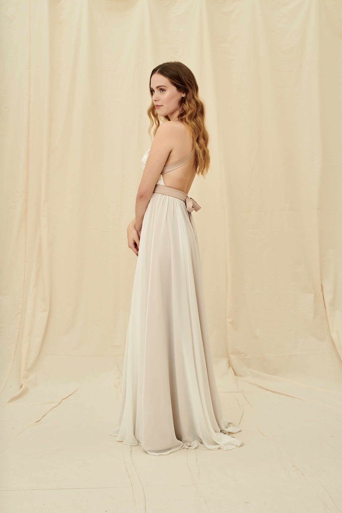 Unique coloured multiway wedding dress with a lightweight flowy chiffon skirt by Truvelle
