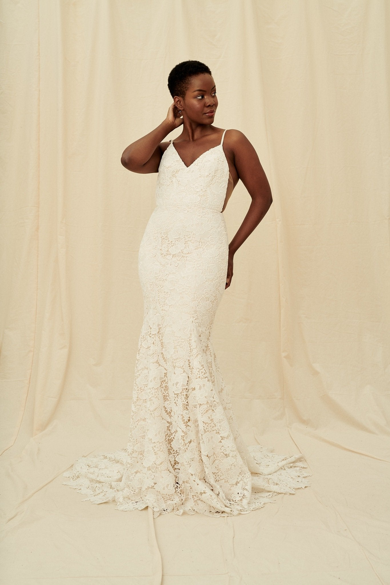 Floral lace fitted mermaid gown available at Calgary and Vancouver boutique