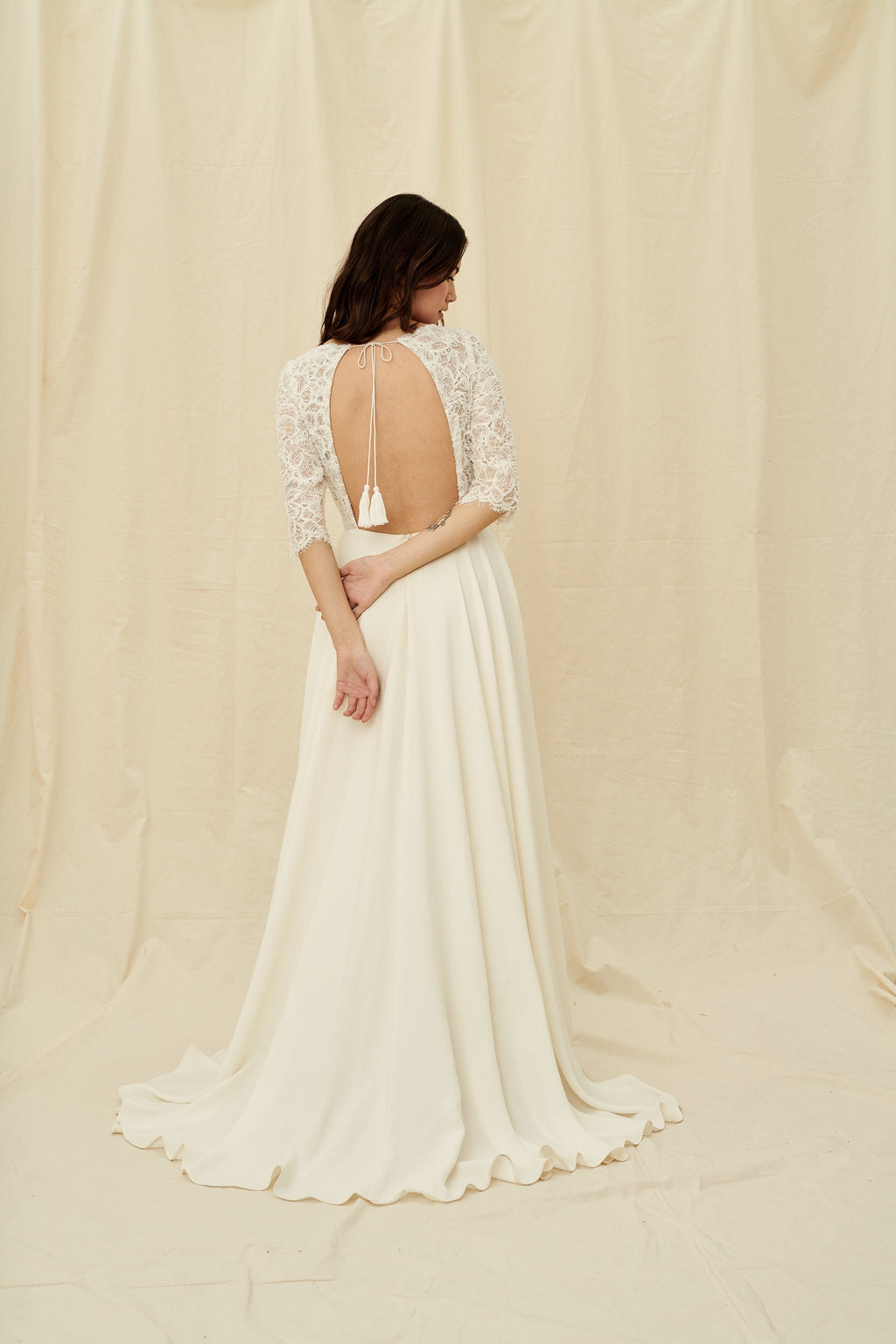 3/4 length sleeve beaded open-back wedding dress with pockets