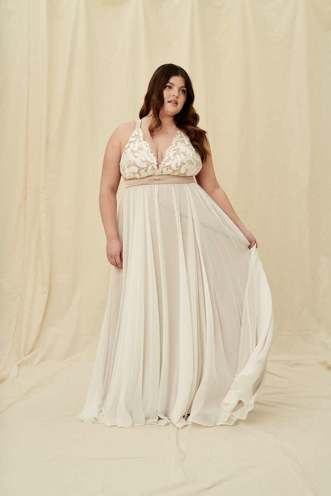 Champagne toned, plus size halter wedding dress