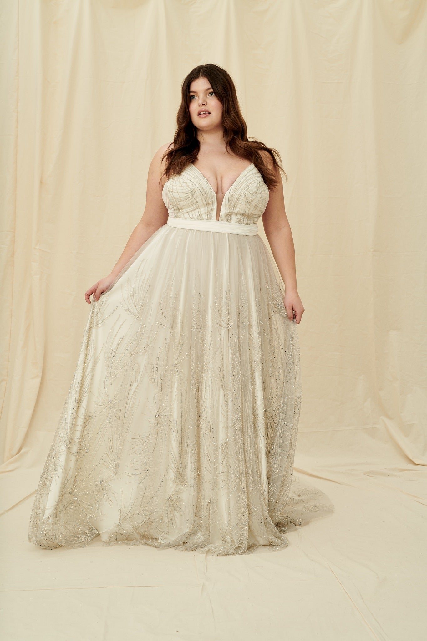 Art deco inspired plus-size wedding dress