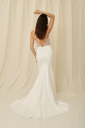Where to buy lightweight mermaid gown with delicate lace, an open back, and long train in Vancouver and Calgary