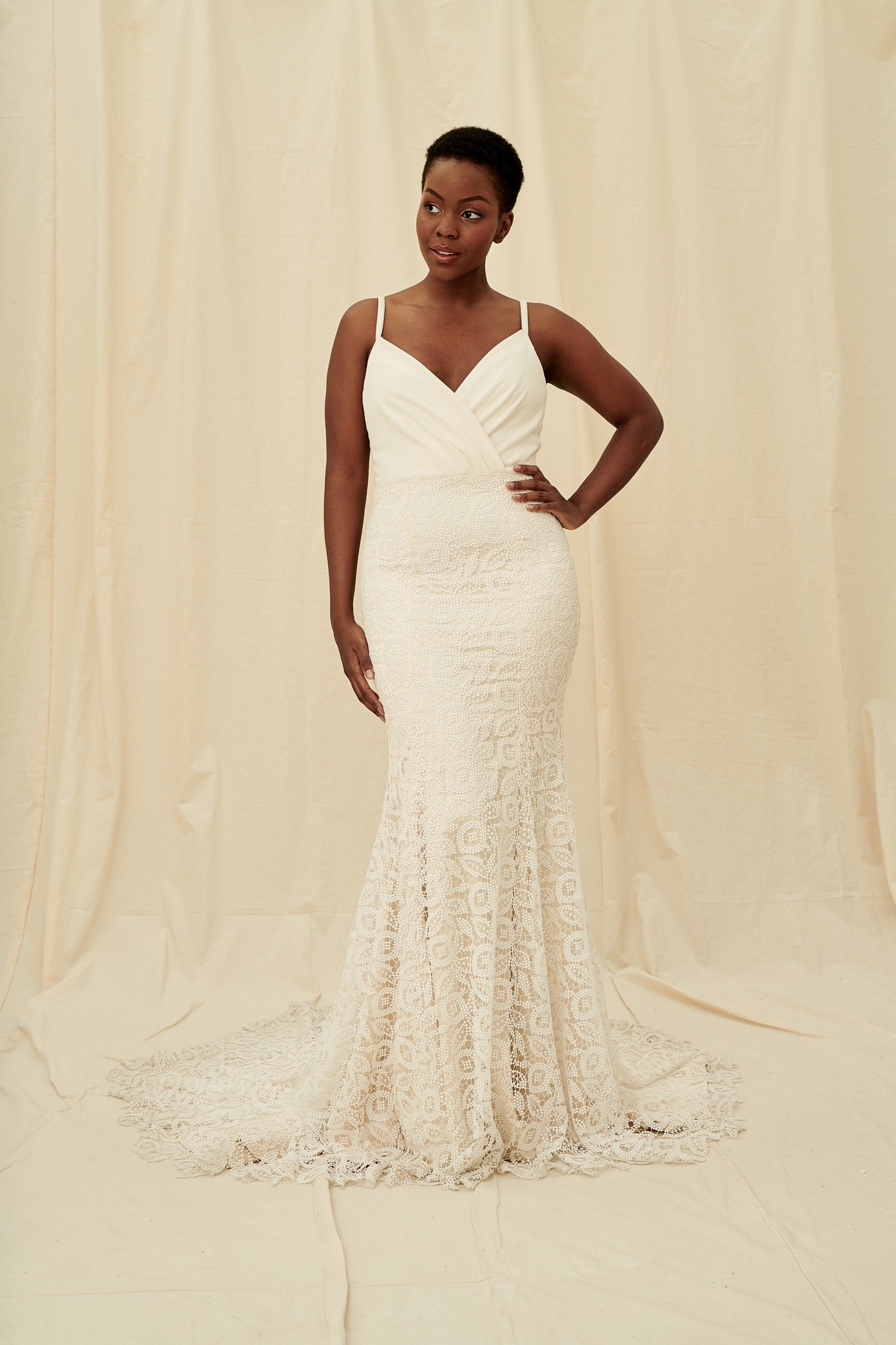 unique mermaid wedding dress with a velvet pleated top and dotted lace skirt