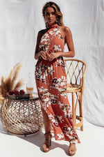 Keys Halter Maxi Dress - Floral Peach