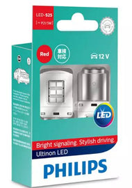 Philips LED Globe 12V S25 / P21/5 Red Stop-Tail 70/13lm BAY15D Base Ultinon LED [Pair]