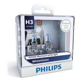 Philips White Vision H3 Globe 12V 55W (2 Pack)