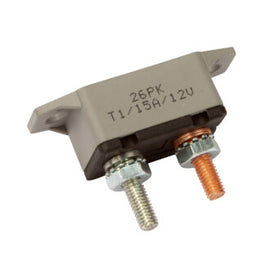 Roadpower Circuit Breaker 12V 15A, Automatic Reset Type I, Plastic Housing, Straight Bracket, Single Pack