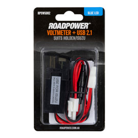 Switch Roadpower AUX Volt Meter + USB 2.1A Suits Holden/Isuzu Includes Harness 33 X 23mm Blue LED