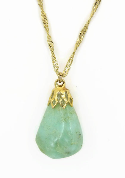 Chrysoprase Gold plated stone necklace sqgf-108