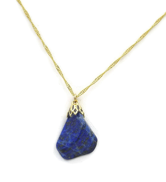 Lapis lazuli Gold plated stone necklace sqgf-113