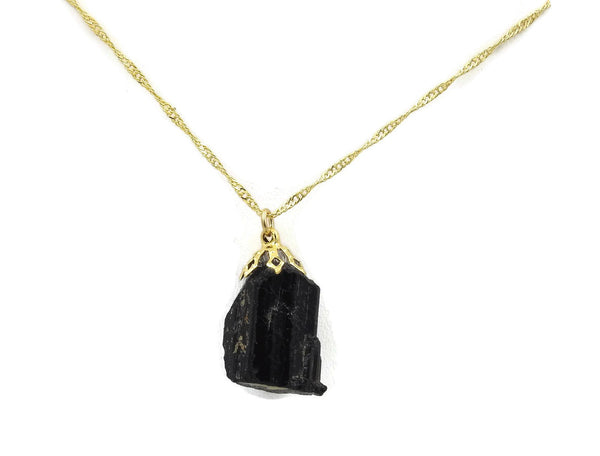 Raw Tourmaline Gold plated stone necklace sqgf-115