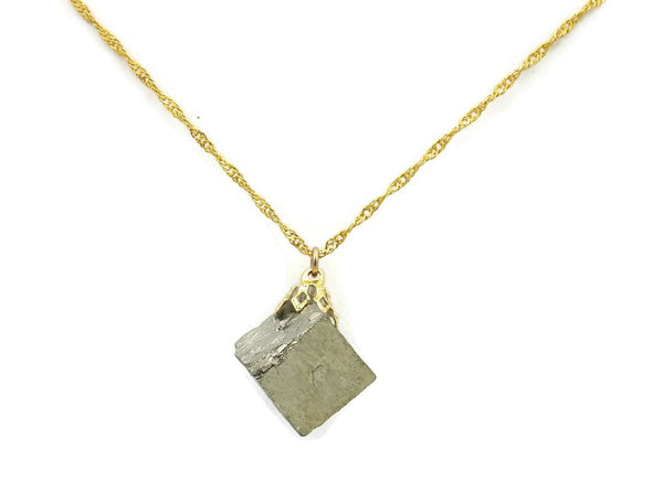 Pyrite Gold plated stone necklace sqgf-117