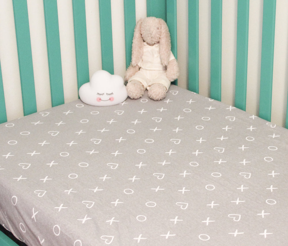 Organic Baby Crib Fitted Sheet-Xoxo Gray