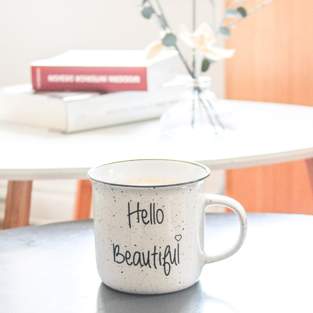 'Hello Beautiful' Sparkles 14oz Coffee Mug
