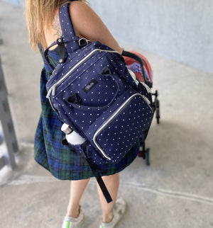 The Polka Mommy Bag (Blue Dots)
