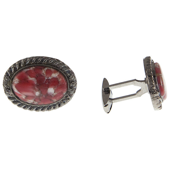 Vintage Chrome Plate Oval Faux Agate Stone Cufflinks, 1960s