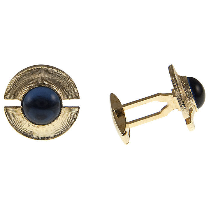 Gold Plate and Blue Glass Cufflinks