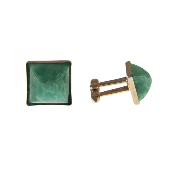 Gold Plate and Green Glass Cufflinks