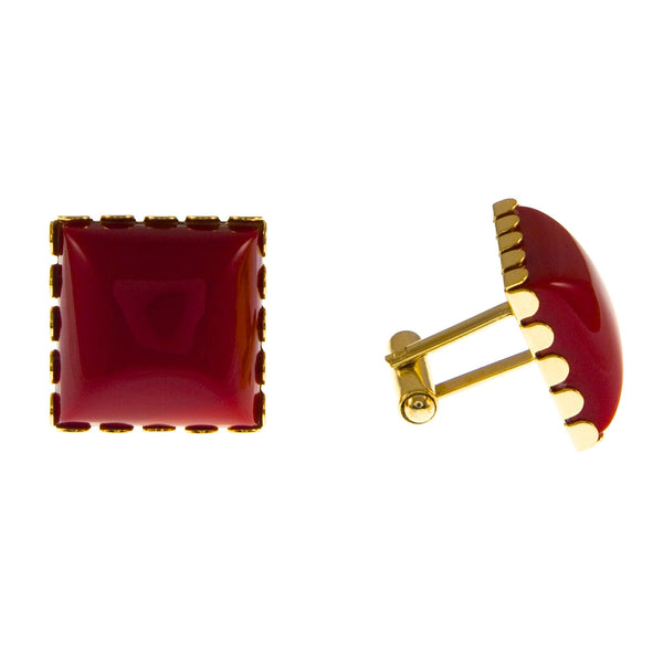Vintage Gold Plate and Red Glass Cufflinks, 1970s