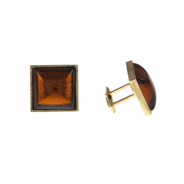 Vintage Burnt Orange Glass Cufflinks, 1960s