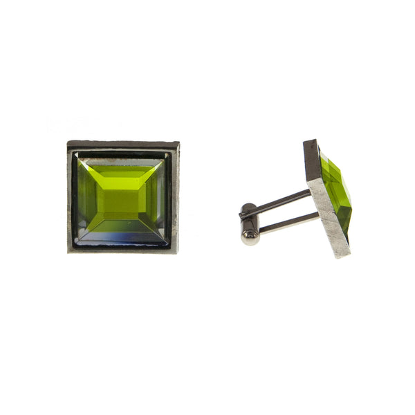 Vintage 1950s Gold Plate and Green Glass Cufflinks