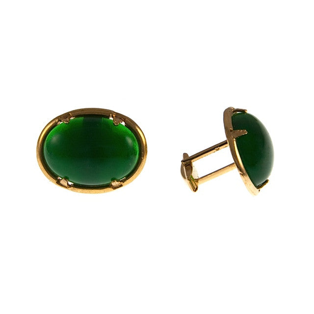 Large Green Glass Cufflinks, Vintage