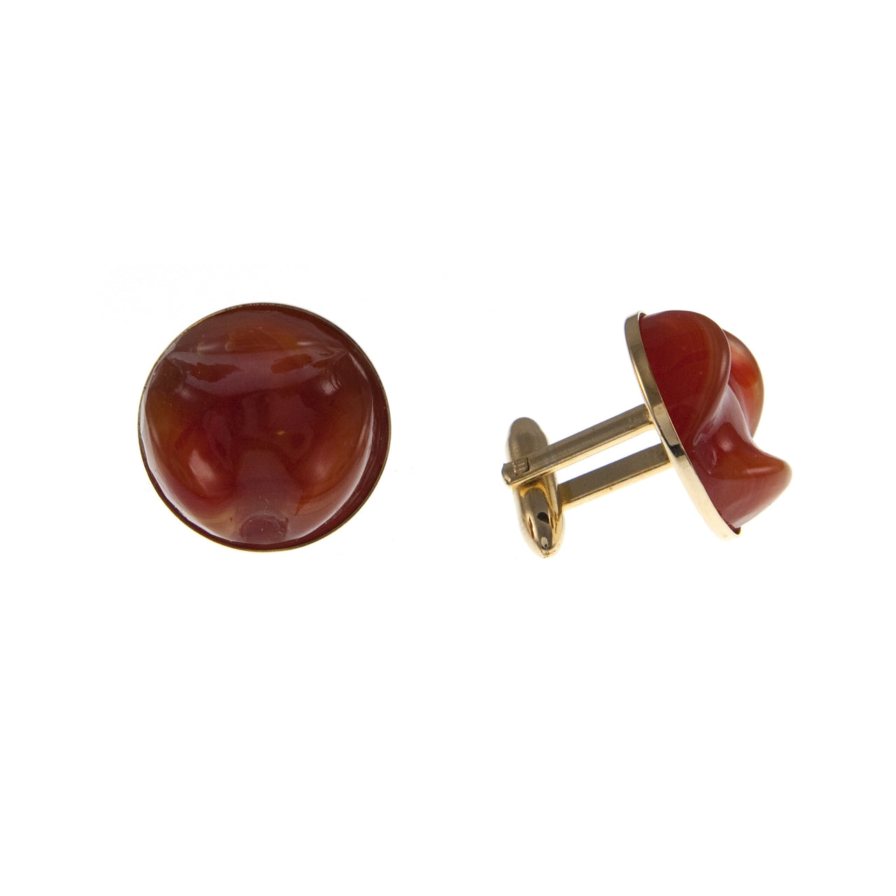 Terracotta Glass and Gold Plate Cufflinks, 1950s
