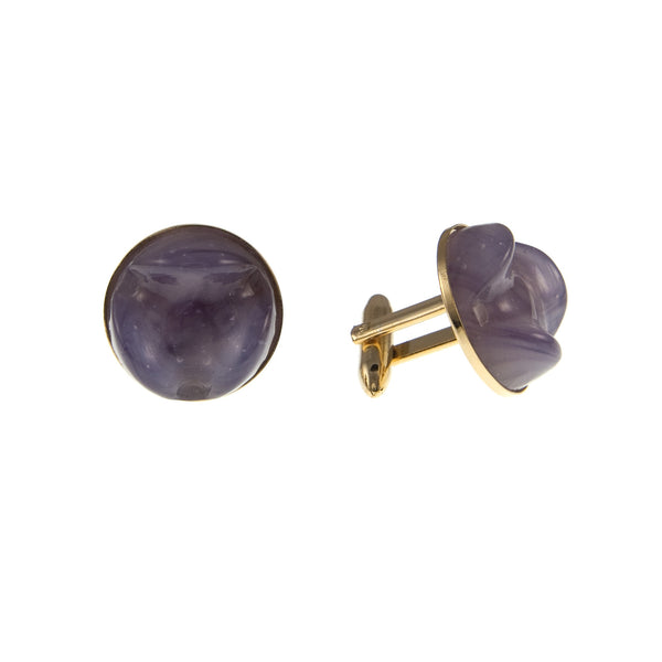 Purple Glass and Gold Plated Cufflinks, 1950s Vintage