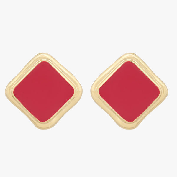 1980s Vintage Square Enamel Clip On Earrings, Red, Gold Plate