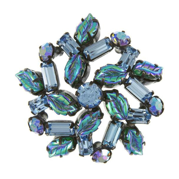1960s Regency Rhinestone Brooch, Blue