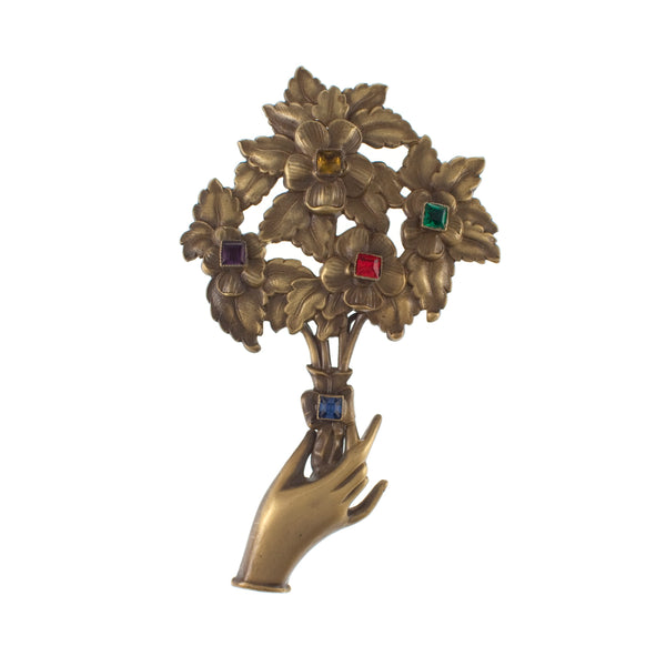 Vintage Josef of Hollywood Handheld Flower Bouquet Brooch