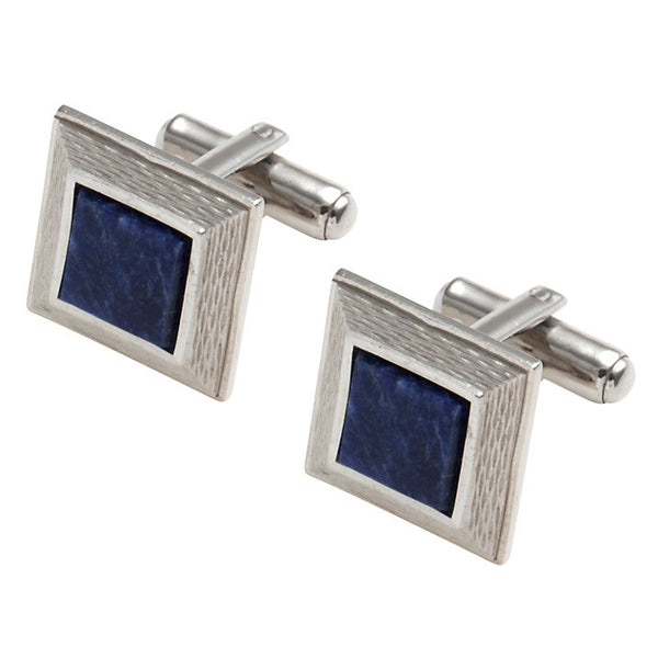 Chrome plate and Sodalite Cufflinks