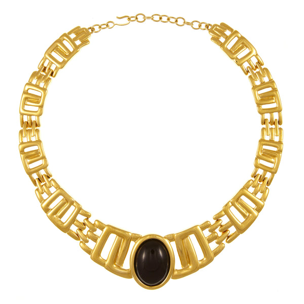 1980s Vintage Monet Chunky Statement Necklace, Gold Plate, Black