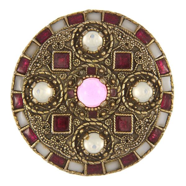 Miracle Anglo Saxon gold plated pink brooch