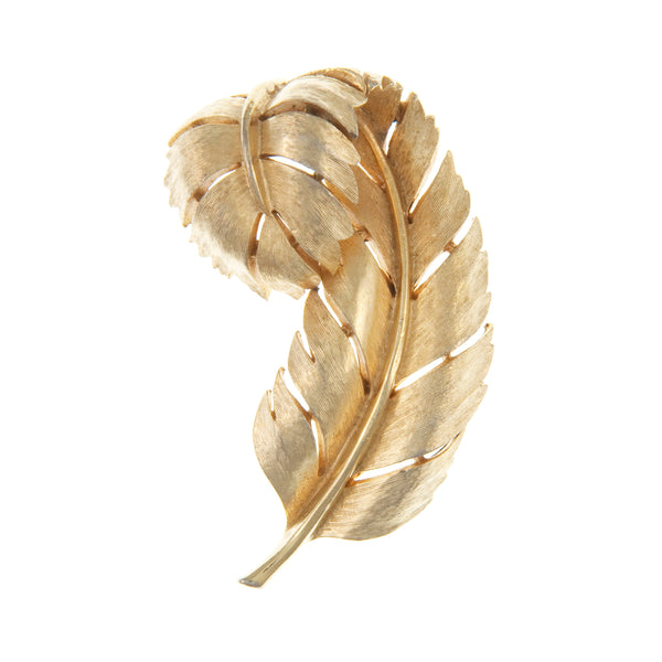 Trifari gold plated feather brooch 1950s
