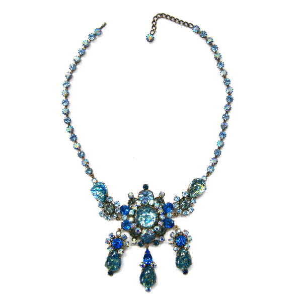 Eclectica Vintage Jewellery 1950s Vintage Austrian Blue rhinestone necklace
