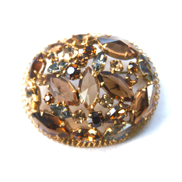 Eclectica Vintage Jewellery 1950s Vintage Brown and grey rhinestone brooch