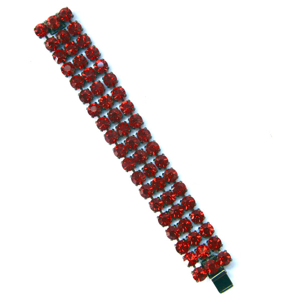 Bright Red Rhinestone Bracelet, 1980s