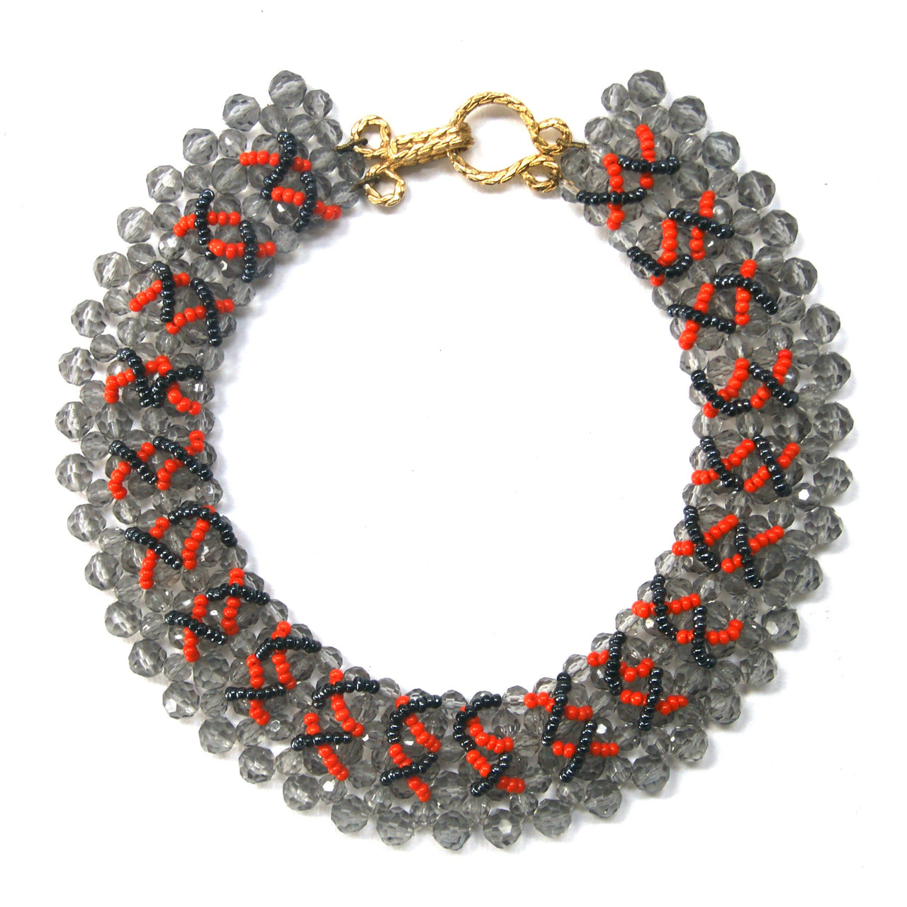 1980s Beaded Collar, Grey, Orange