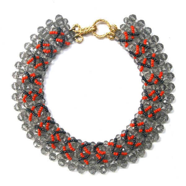 1980s Vintage Beaded Collar, Grey, Orange