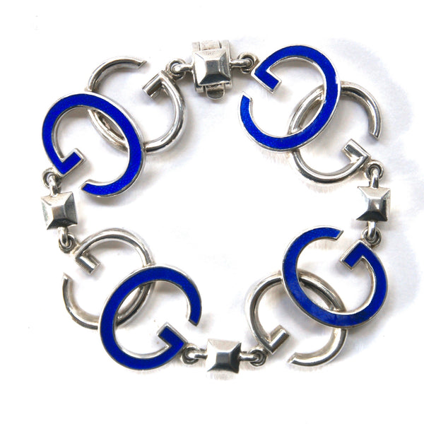 Gucci Silver and Enamel Logo Bracelet, Blue