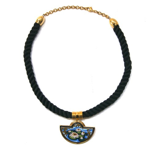 Eclectica Vintage Jewellery | UK | Michaela Frey Wien Pendant, Black, Gold Plate, Blue