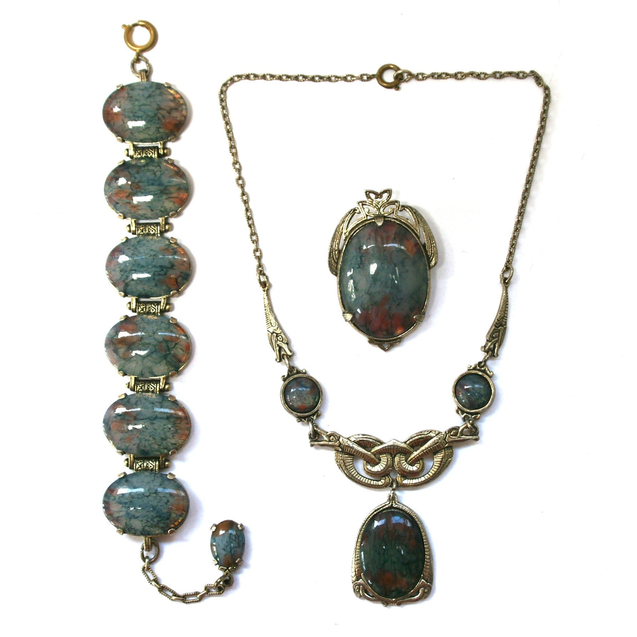 Eclectica Vintage Jewellery | UK | 1960s Miracle Necklace, Brooch and Bracelet Set, Blue