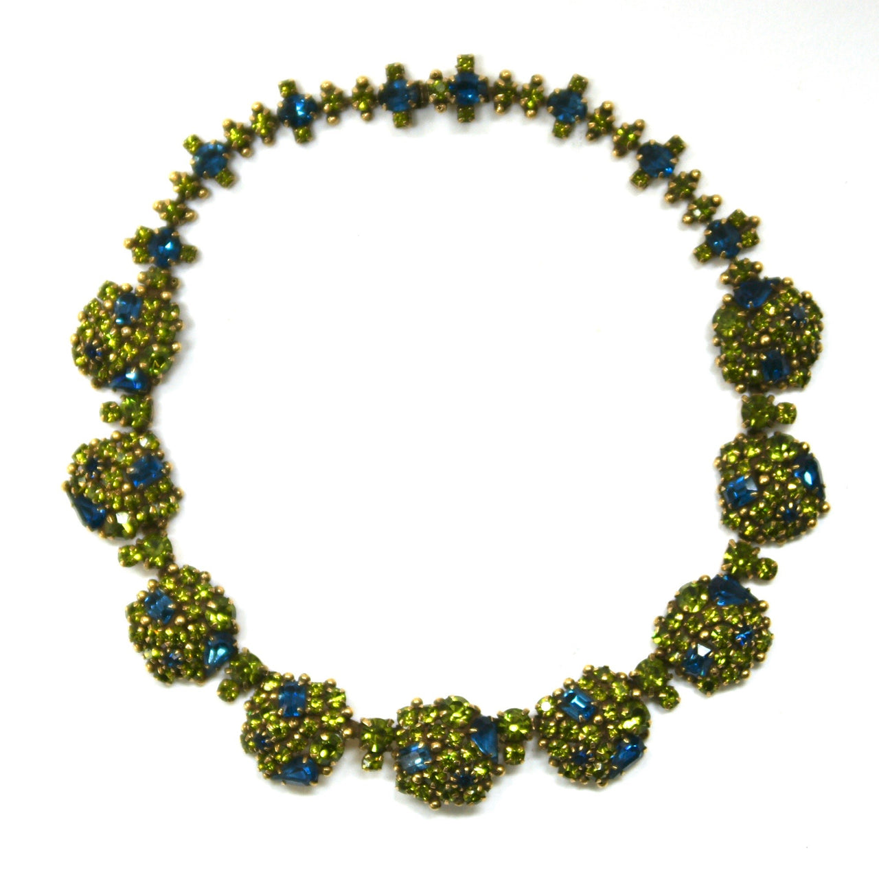 Eclecica Vintage 1950s Kramer Rhinestone Necklace, Olive green and Navy