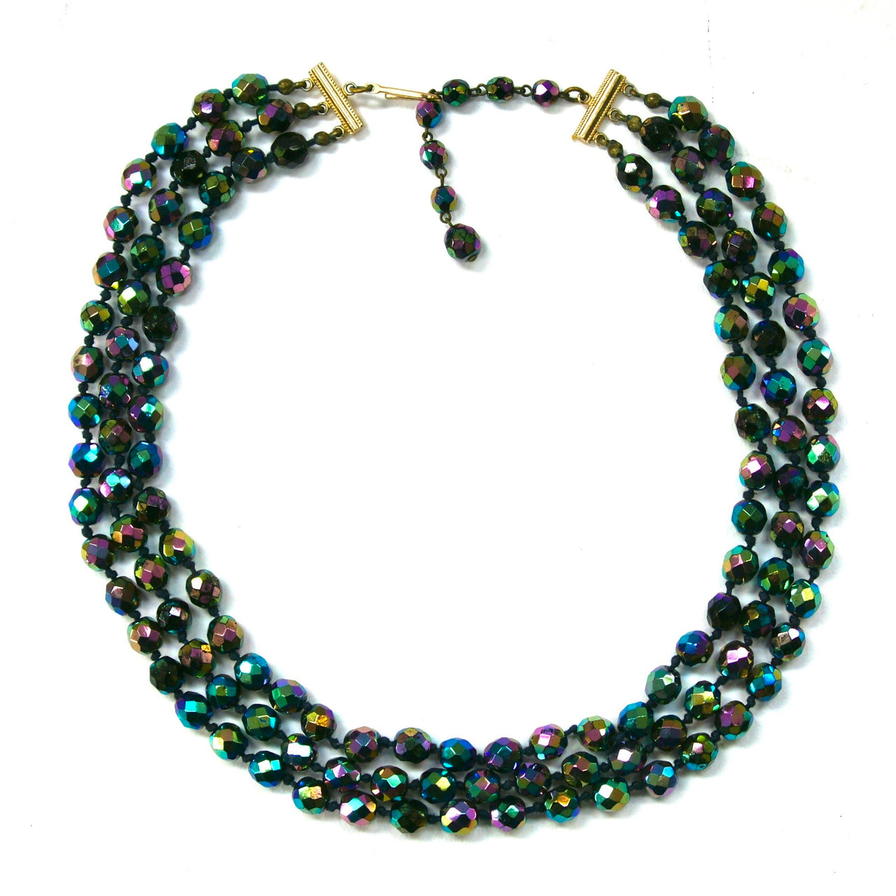 1960s Vintage Carnival Glass Beads Necklace